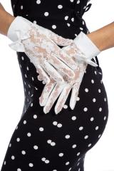 Weiße Handschuhe Spitzenhandschuhe Hochzeitshandschuhe mit Schleife