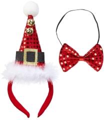 Weihnachtsmütze Nikolausmütze mit Paillettenfliege 2 teilig