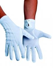 weiße Handschuhe mit Naht und Knopf Nikolaus Weihnachtsmann Garde